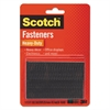 """Scotch Hook and Loop Fastener Tape, 1"""" x 3"""", two sets, Black"""