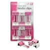 Officemate Breast Cancer Awareness Medium Easy Grip Binder Clips, Pink/White, 12/Pack