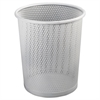 "Urban Collection Punched Metal Wastebin, 20.24 oz, Steel, White Satin, 9""Dia"