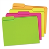 Glow File Folders, 1/3 Cut Top Tab, Letter, Assorted Colors, 24/Box
