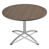 "iLand Table, Contour, Round Seated Style, 42"" dia. x 29"", Natural Teak/Silver"