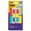 "Post-it Tabs Value Pack, 1"" and 2"", Aqua/Lime/Red/Yellow, 114/PK"