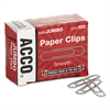 ACCO Smooth Standard Paper Clip, Jumbo, Silver, 100/Box, 10 Boxes/Pack