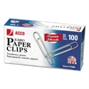 ACCO Premium Paper Clips, Smooth, Jumbo, Silver, 100/Box, 10 Boxes/Pack