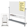 "MasterVision Magnetic Reversible Mobile Easel, 35 2/5w x 47 1/5h, 80""h Easel, White/Silver"