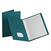 "Twin-Pocket Folders with 3 Fasteners, Letter, 1/2"" Capacity, Teal, 25/Box"