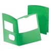 Contour Two-Pocket Recycled Paper Folder, 100-Sheet Capacity, Green