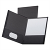 Oxford Linen Finish Twin Pocket Folders, Letter, Black,25/Box
