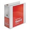 "Cardinal SuperStrength ClearVue Locking Slant-D Ring Binder, 5"" Cap, 11 x 8 1/2, White"