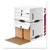 Bankers Box Side-Tab File Storage Box, Letter, 15-1/4 x 13-1/2 x 10-3/4, White/Blue, 12/CT