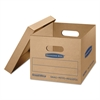 SmoothMove Classic Small Moving Boxes, 15l x 12w x 10h, Kraft/Blue, 15/Carton