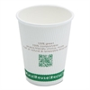 NatureHouse Compostable Insulated Ripple-Grip Hot Cups, 12oz, White, 500/Carton