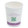 Compostable Insulated Ripple-Grip Hot Cups, 8oz, White, 50/Pack