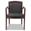 Alera Alera Reception Lounge 500 Series Arch Solid Wood Chair, Mahogany/Black Leather