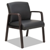 Alera Reception Lounge Series Guest Chair, Espresso/Black Leather