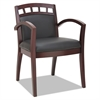 Alera Reception Lounge 500 Series Arch CutOut Wood Chair, Mahogany/Black Leather