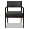 Alera Reception Lounge 500 Series Wood Guest Chair, Mahogany/Black Leather