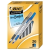 BIC Round Stic Grip Xtra Comfort Ballpoint Pen, Black/Blue, 1.2mm, Medium, 36/Pack