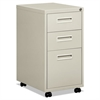 "basyx Embark Series Mobile Box/Box/File Pedestal File w/""M"" Pull Drwr, 22d, Light Gray"