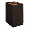 basyx BL Laminate Three Drawer Pedestal File, 15 5/8w x 21 3/4d x 27 3/4h, Mahogany