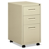 "basyx Embark Series Mobile Box/Box/File Pedestal File w/""M"" Pull Drawers, 22d, Putty"