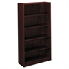 basyx BL Laminate Series Five Shelf Bookcase, 32w x 13 13/16d x 65 3/8h, Mahogany