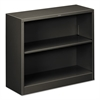 Metal Bookcase, Two-Shelf, 34-1/2w x 12-5/8d x 29h, Charcoal