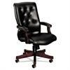 HON 6540 Series Executive High-Back Swivel Chair, Mahogany/Black Vinyl Upholstery