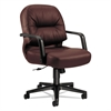 HON 2090 Pillow-Soft Series Managerial Leather Mid-Back Swivel/Tilt Chair, Burgundy