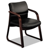 HON 2900 Series Guest Chair w/Wood Arms, Black Vinyl/Mahogany Finish