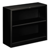 Metal Bookcase, Two-Shelf, 34-1/2w x 12-5/8d x 29h, Black