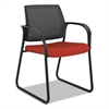 Ignition Series Mesh Back Guest Chair with Sled Base,Poppy Fabric Upholstery