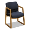 HON 2400 Series Guest Arm Chair, Harvest Finish, Blue Fabric