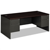 38000 Series Double Pedestal Desk, 72w x 36d x 29-1/2h, Mahogany/Charcoal