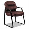 HON 2090 Pillow-Soft Series Leather Guest Arm Chair, Burgundy