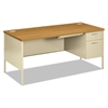 HON Metro Classic Right Pedestal Desk, 66w x 30d, Harvest/Putty