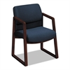 HON 2400 Series Guest Arm Chair, Mahogany Finish, Blue Fabric