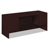 HON 10500 Series Kneespace Credenza With 3/4-Height Pedestals, 60w x 24d, Mahogany