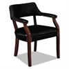 HON 6550 Series Guest Arm Chair, Mahogany/Black Vinyl Upholstery