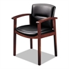 HON 5000 Series Park Avenue Collection Guest Chair, Black Vinyl/Mahogany Finish