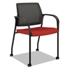 Ignition Series Mesh Back Mobile Stacking Chair, Poppy Fabric Upholstery