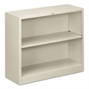 HON Metal Bookcase, Two-Shelf, 34-1/2w x 12-5/8d x 29h, Light Gray
