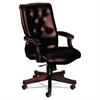 HON 6540 Series Executive High-Back Swivel Chair, Mahogany/Oxblood Vinyl Upholstery