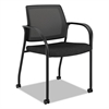 HON Ignition Series Mesh Back Mobile Stacking Chair, Black Fabric Upholstery