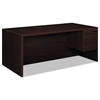 "10500 Series Large ""L"" or ""U"" Right 3/4-Height Ped Desk, 72w x 36d, Mahogany"
