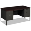 Metro Classic Double Pedestal Desk, 60w x 30d x 29 1/2h, Mahogany/Charcoal