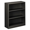 Metal Bookcase, Three-Shelf, 34-1/2w x 12-5/8d x 41h, Charcoal