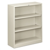HON Metal Bookcase, Three-Shelf, 34-1/2w x 12-5/8d x 41h, Light Gray
