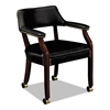 HON 6550 Series Guest Arm Chair with Casters, Mahogany/Black Vinyl Upholstery