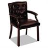HON 6540 Series Guest Arm Chair, Mahogany/Oxblood Vinyl Upholstery